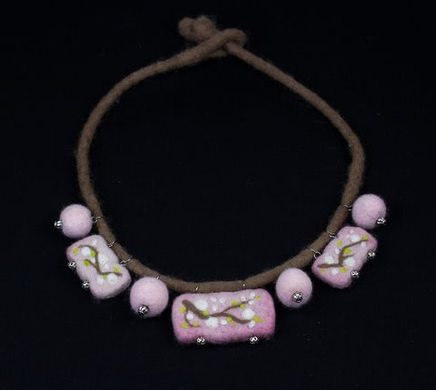 Felted Necklace cherry blossom accessory jewelry wearable art