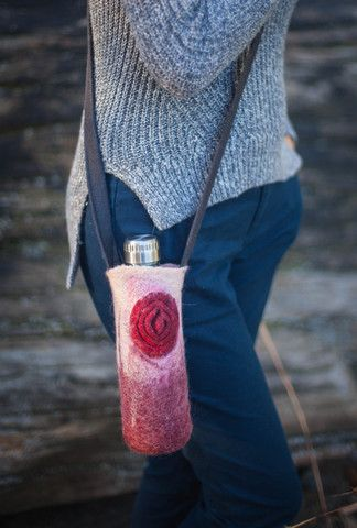 Unique hand felted water bottle holder wool accessory