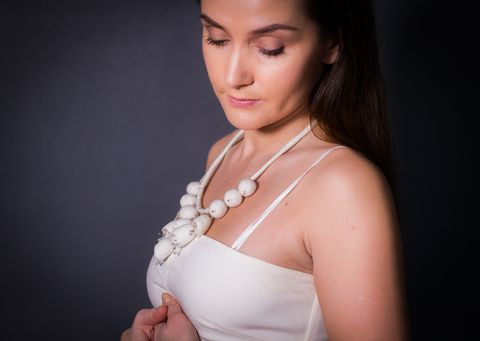 hand felted Wedding Bridal wool necklace