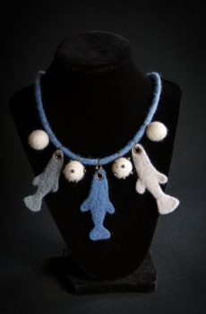 hand felted elegant fishes necklace accessory