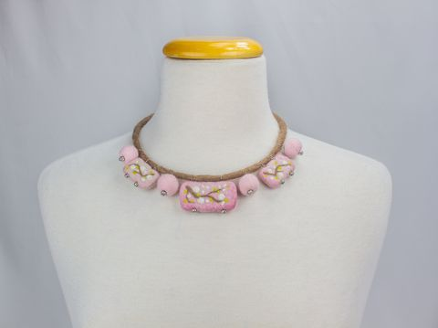 Felted Necklace cherry blossom Art-necklace
