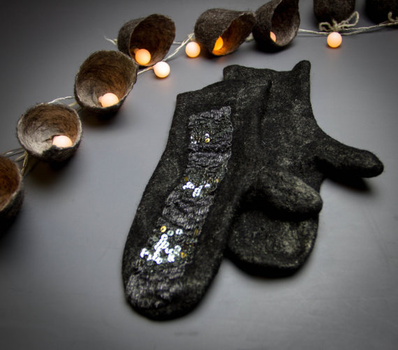 Felted black mittens