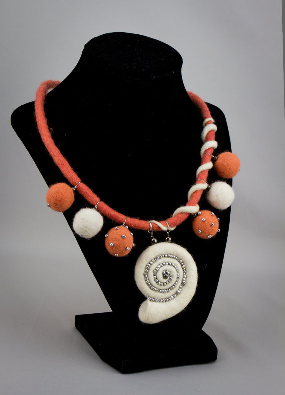 Hand felted necklace