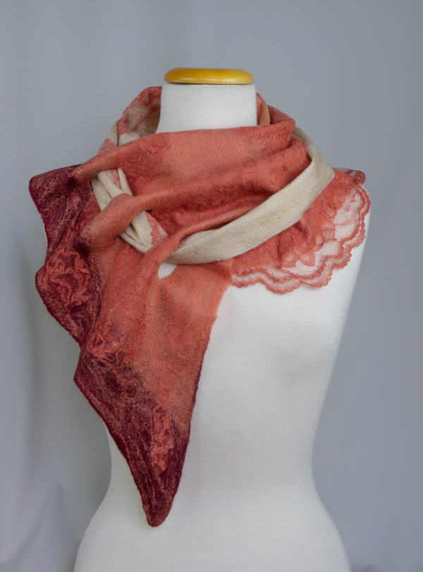 Nuno felted scarf BROWN