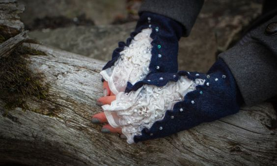 On sale Felted fingerless mittens Wool gloves