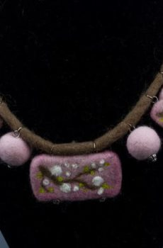 Felted Necklace cherry blossom original design jewelry wearable art