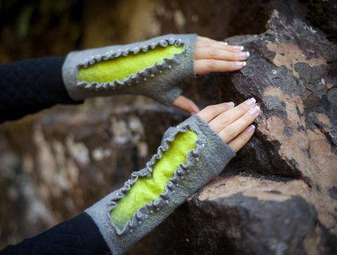 gray-green felted beaded fingerless gloves