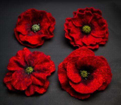 felted Red poppy flower