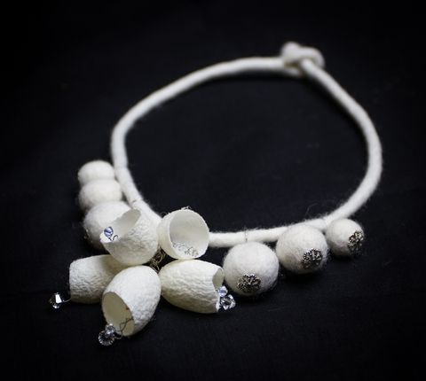 Necklace silk cocoons