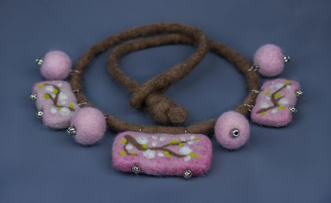 Felted Necklace accessory original design jewelry