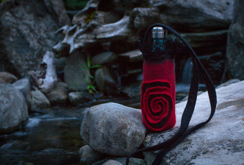 Red water bottle holder