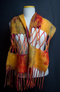 Hand felted autumn scarf