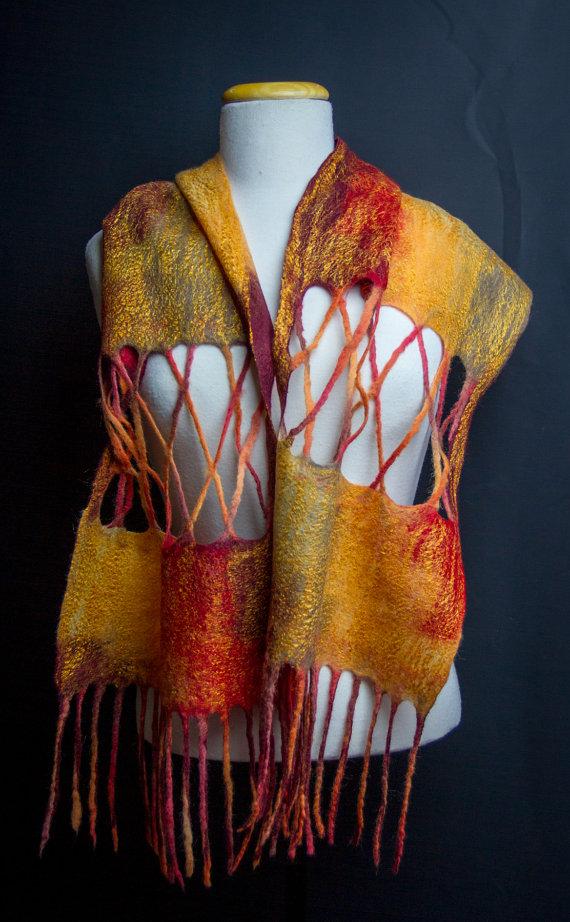 Hand felted autumn scarf
