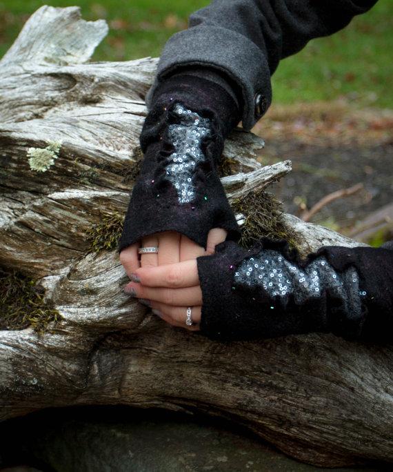 Felted wool wrist warmers for women