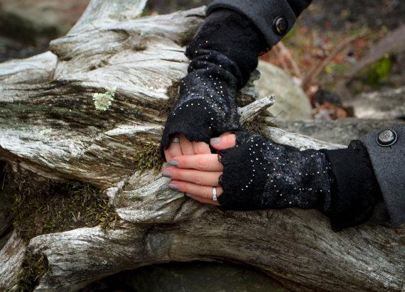 Felted merino wool wrist warmers