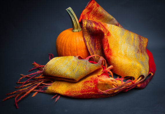 Hand felted scarf with Tassels