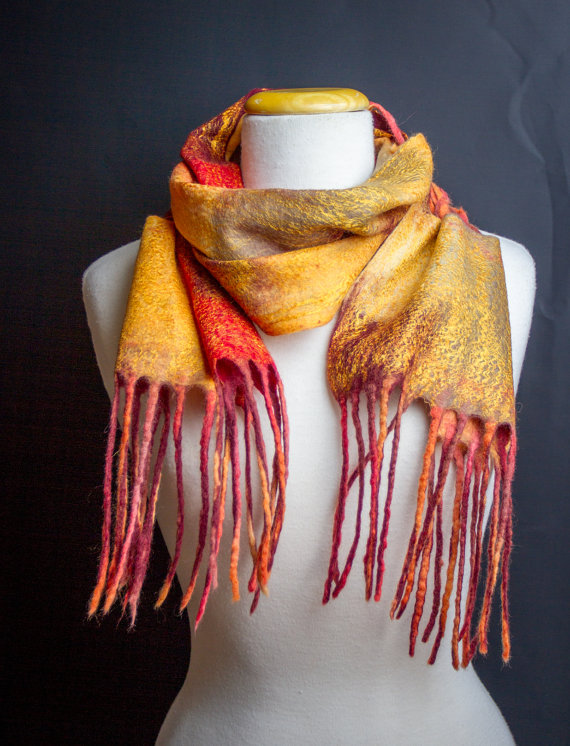 Hand felted autumn scarf with Tassels