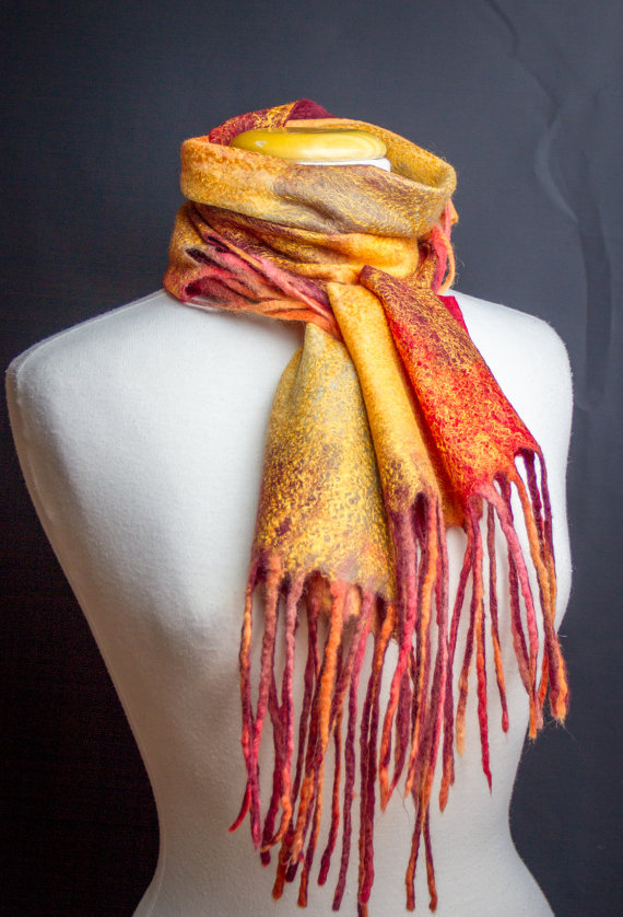 felted scarf with Tassels