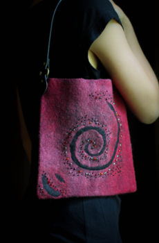 felted burgundy purse