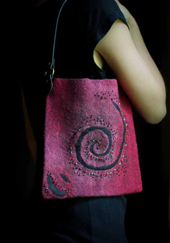 felted burgundy purse