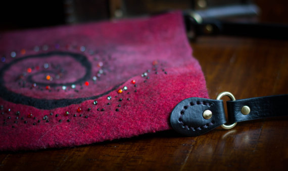 wool wet felting bag