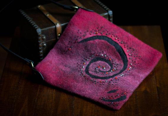 Felt Purse burgundy merino wool wet felting bag