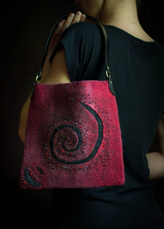felted Handbag with beads