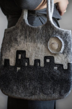 city skyline purse