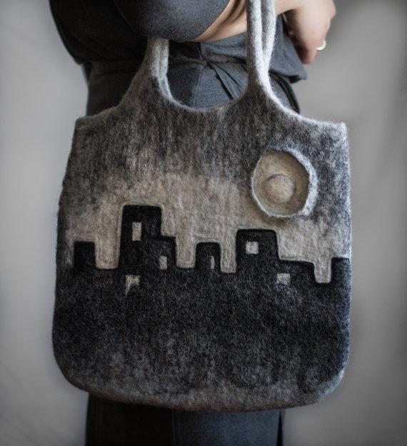city skyline purse