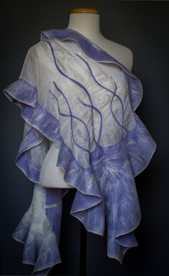 Nuno felted shawl with intertwining lines
