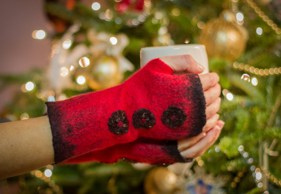 red felted arm warmers