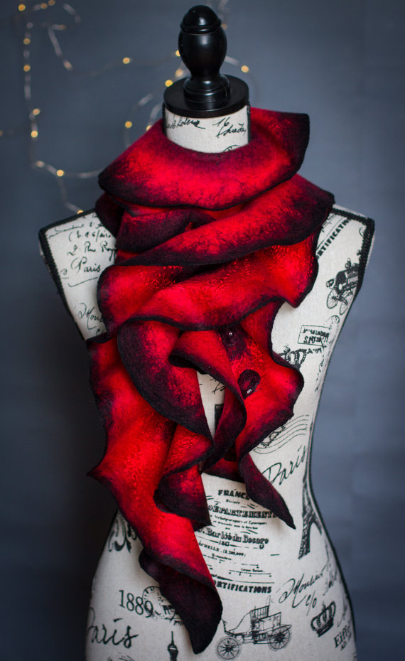 Handmade Wet Felted Ruffle Scarf for sale