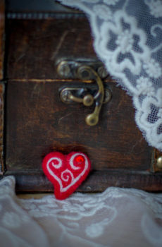 hand felted Heart with Swarovski