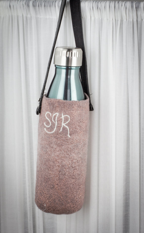 Personalized Hand felted wool water bottle Carrier