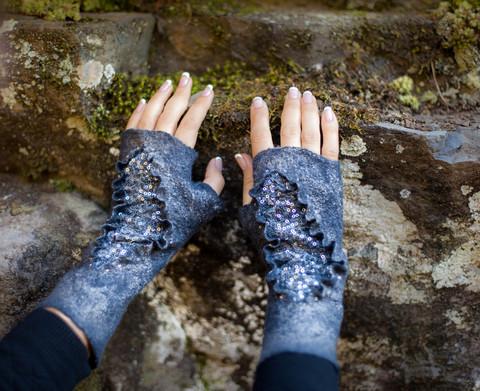 Beaded mittens felted fingerless gloves