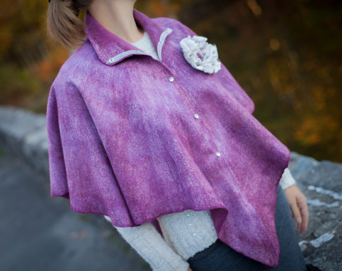 Felted Cape wearable art stand collar