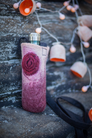 hand felted water bottle holder wool accessory in burgundy