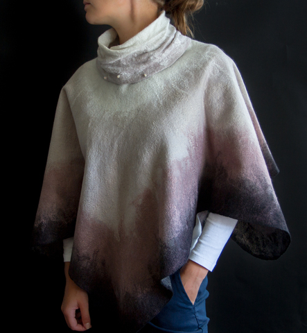 felted Cape with brilliant buttons