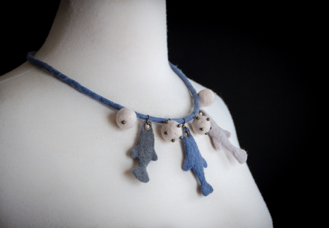 hand felted fishes necklace accessory