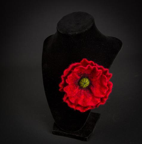 felted Red poppy