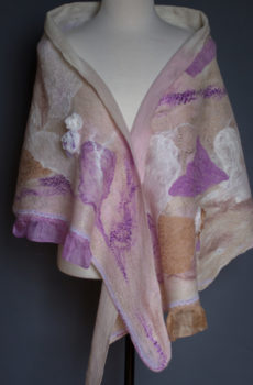 felted silk shawl Beige Purple