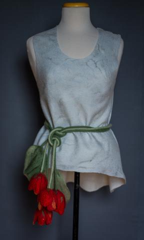 felted flower scarf-belt