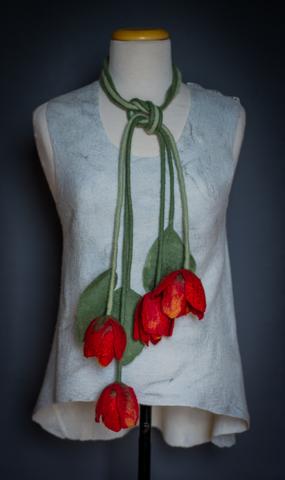 felted flower scarf, belt