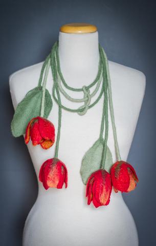 felted flower belt-scarf