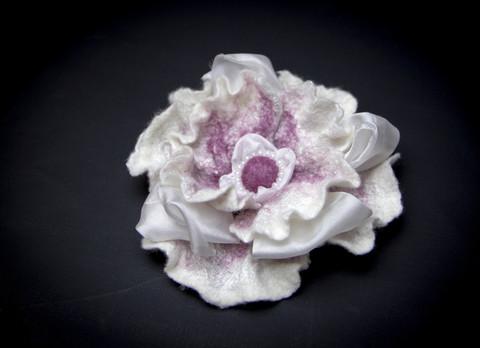 Wet Felted flower pin