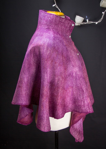 Burgundy purple felted cape