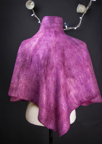 Burgundy purple felted poncho or cape with stand collar