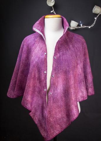 Burgundy purple cape stand collar