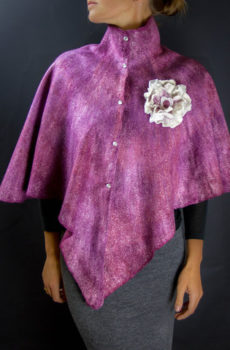 Burgundy purple felted poncho or cape with rivets and stand collar