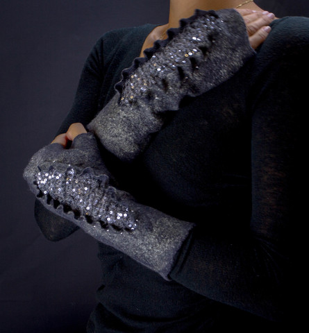 Beaded mittens felted fingerless gloves arm warmers gray